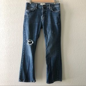 Free People cropped ripped denim jeans size 27